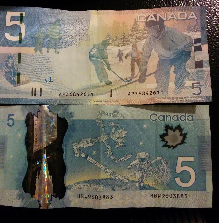 5 kanadietiški doleriai